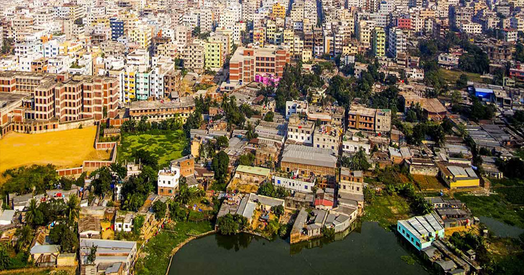 Вид с воздуха, Дакка, Бангладеш