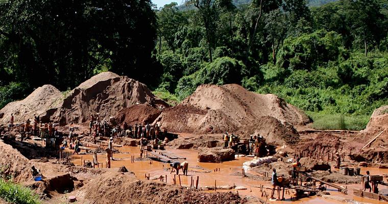 Добыча золото, Конго