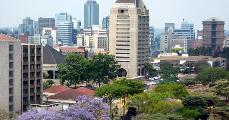 Вид на центр города Joburg с моста Нельсон Мандела.